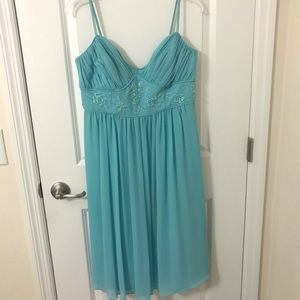 David's Bridal Turquoise Sweet Heart Dress